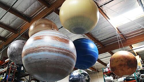 Inflatable Planets - Globes in different sizes for exhibits and galas.