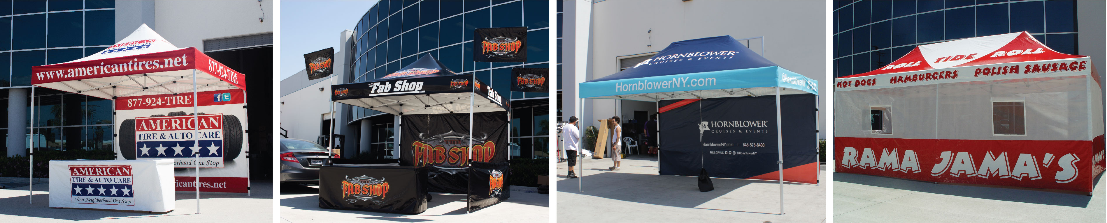 Custom canopy tents with printed table covers, printed walls, printed tent flags, printed short walls, and printed rail skirts