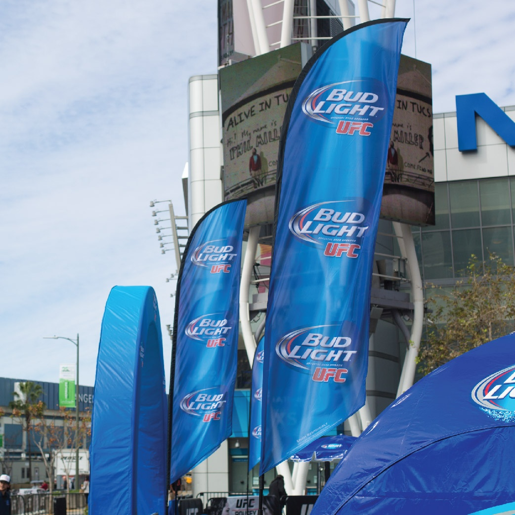 Bud Light Ad Flags at the Staples Center