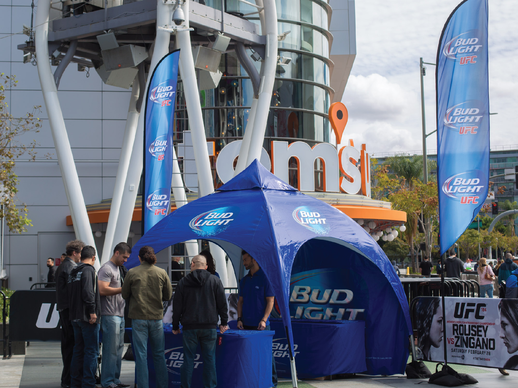 Bud Light custom printed advertising flags and dome tent at the Staples Center for a UFC event