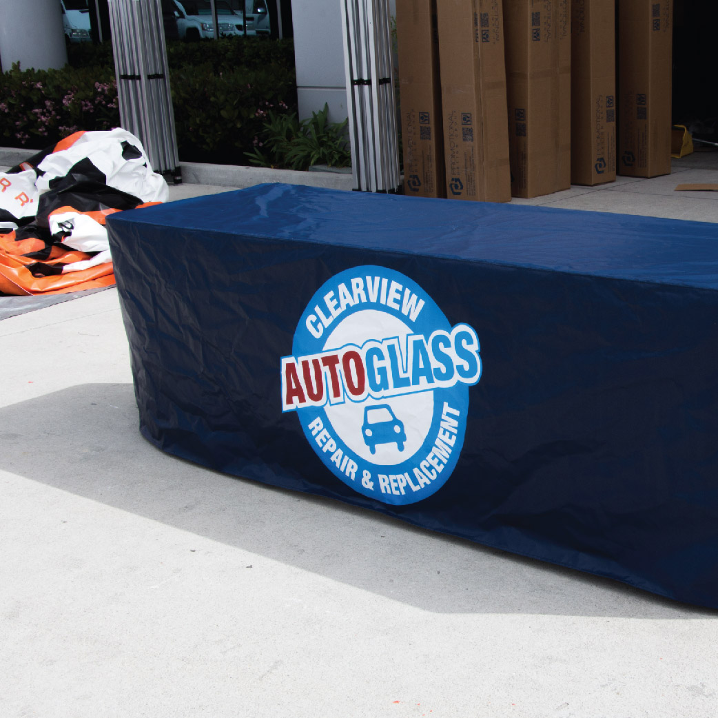 Customized table throw for Clearview Auto Glass made out of vinyl
