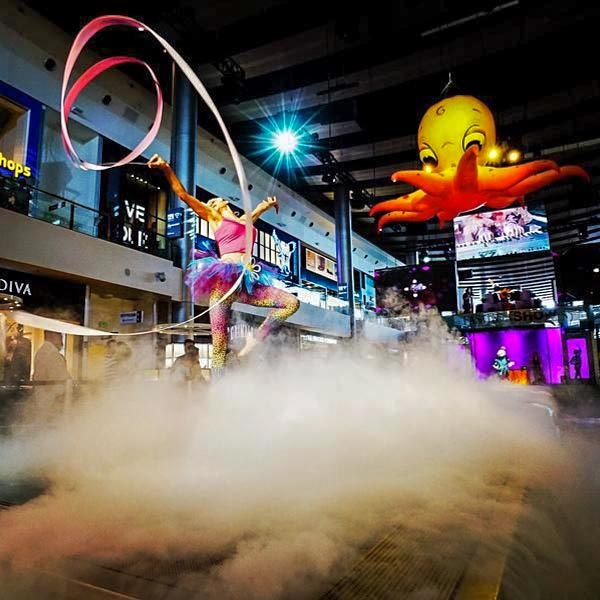 yellow and orange inflatable octopus at a fashion show installed as a decoration in Las Vegas