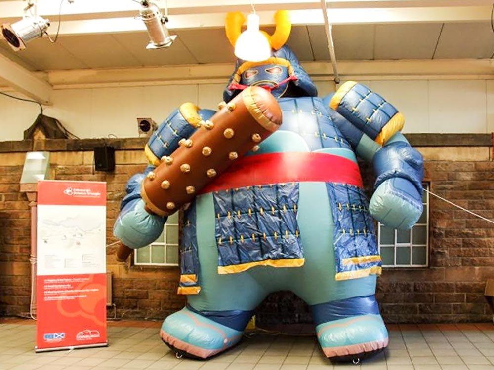 Inflatable samurai character with unique colors and design