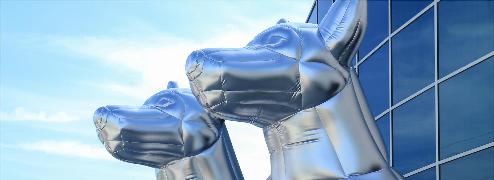 dj kayzo inflatable chrome dog characters