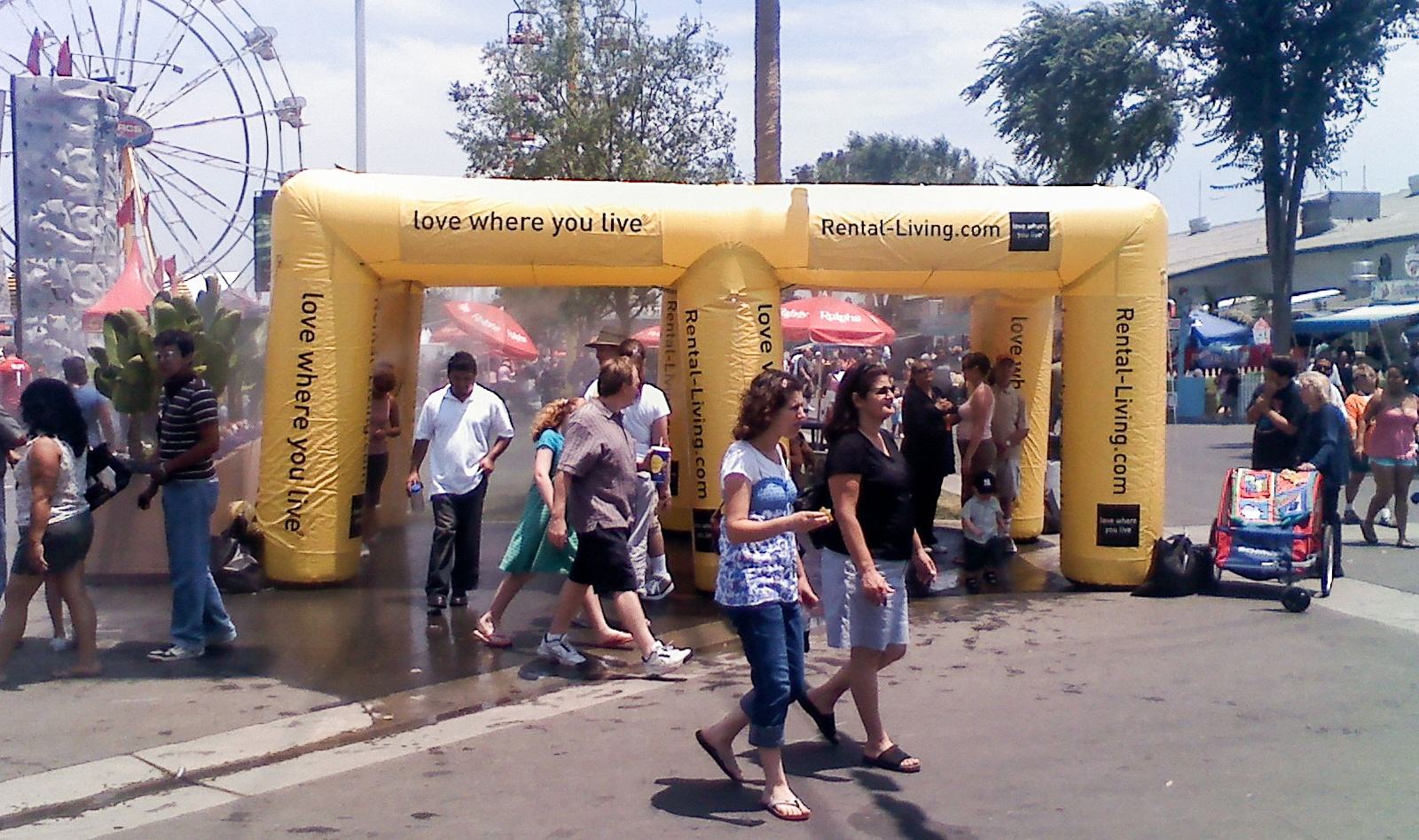yellow inflatable misting tents