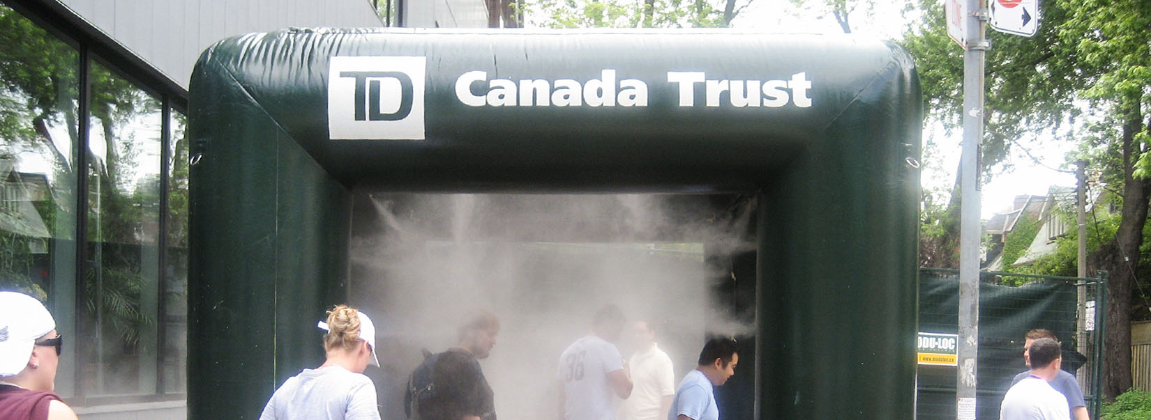 Green 10x10 Canada trust, Toronto Dominion inflatable misting tent