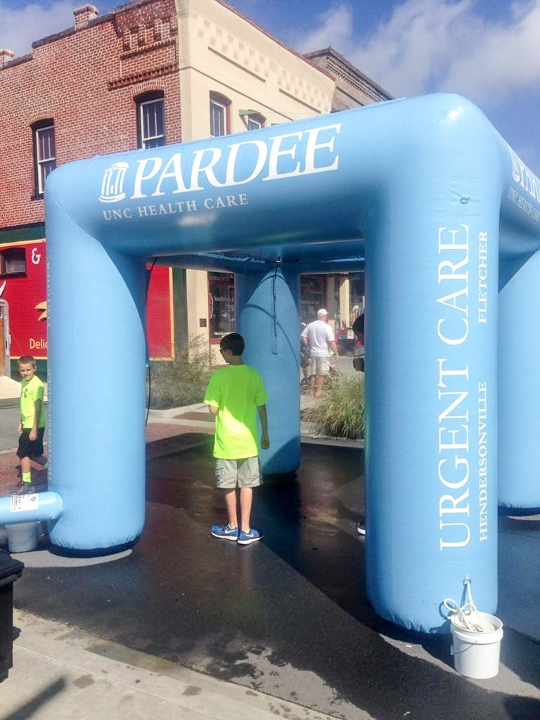 pardee blue inflatable misting station tent