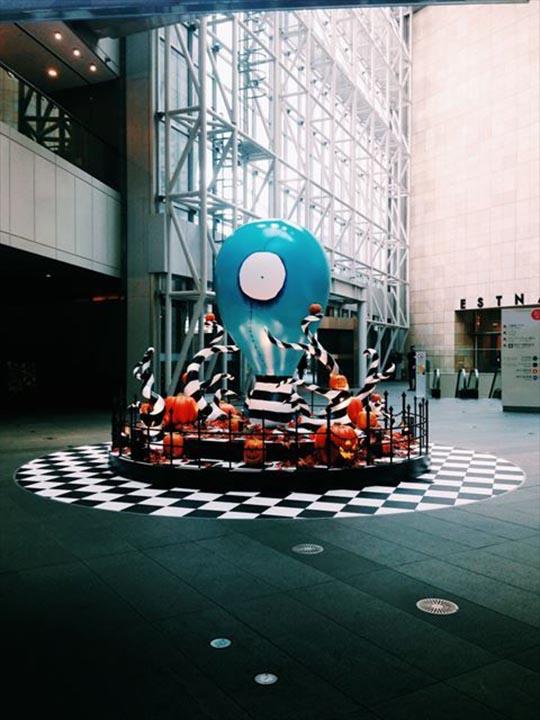 Custom inflatable prop Tim Burton art installation in a museum