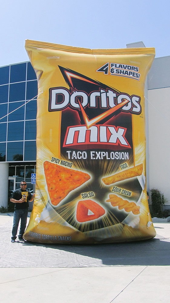 20 foot Inflatable Replica of a Doritos Mix chip bag with complete custom printing