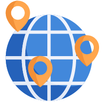 3d rendering icon with a model of the  earth being pin-pointed by map guides