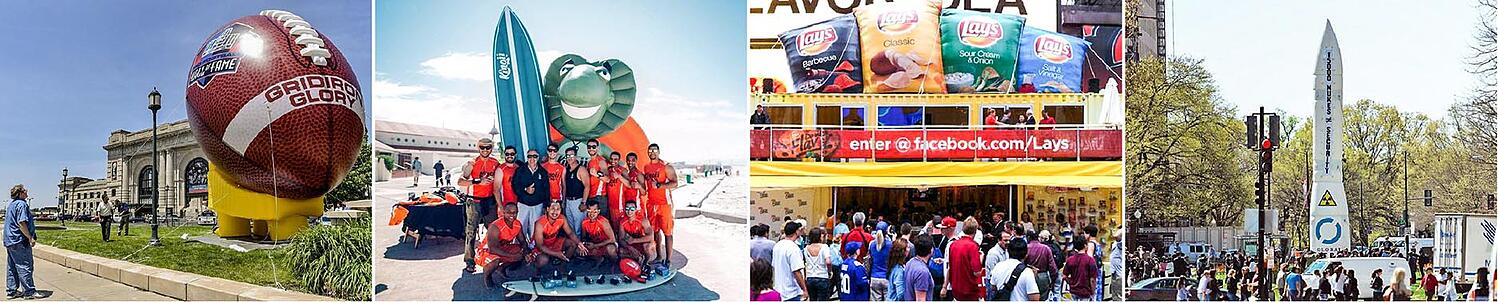 Inflatable replica football, iguana, surfboard, Lays potato chips, rocket collage