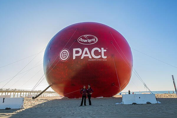 Inflatable 65 foot OceanSpray replica of a cranberry for their new PACT drink