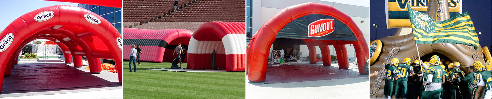 Grace foods, Verizon, T-Mobile, Gumout, High School Viking Ship custom inflatable tunnels collage