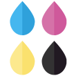 custom printed colors- cmyk droplets icon