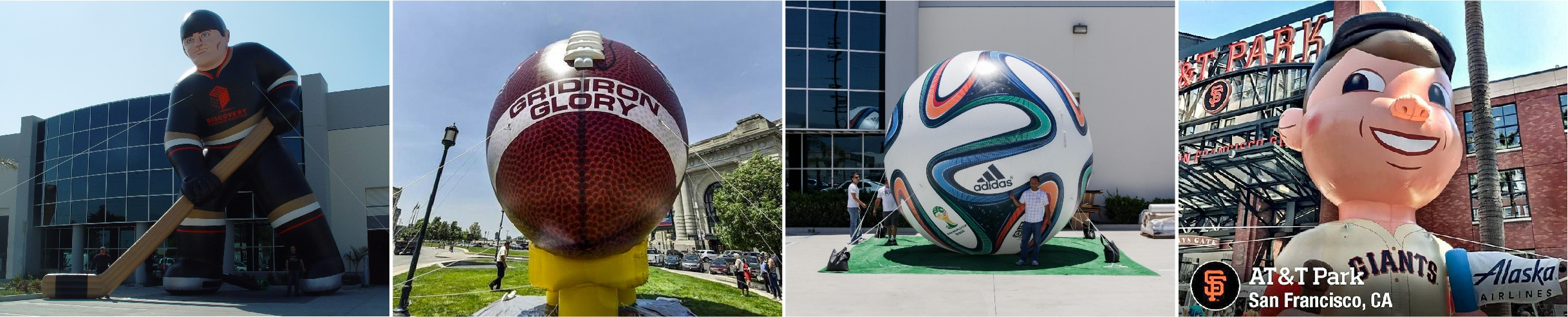 sports hockey, football, soccer, MLB giants inflatable collage