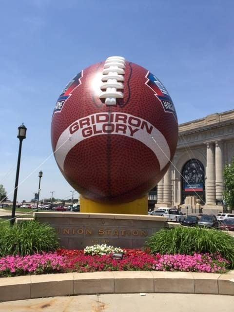 American football inflatable at Kansas City Station