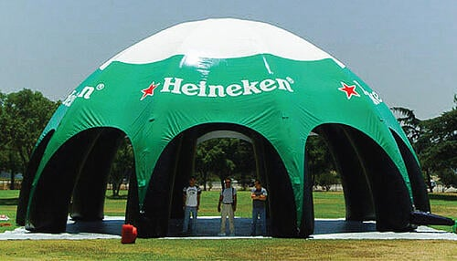 Inflatable Domes: Half dome inflatable structures for events.