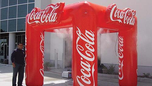 Misting Tents - 10'x10' inflatable misting tents with personalized graphics.
