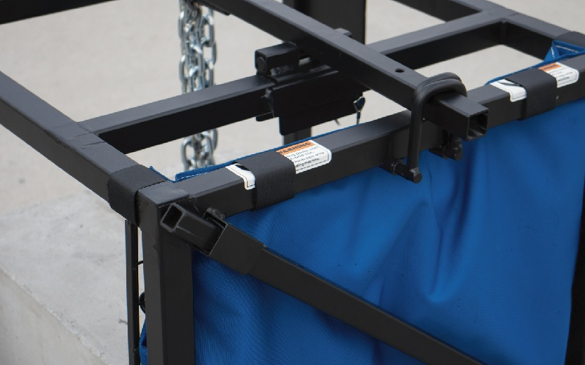 Image of a close up of the lift a block showcasing the steel it is made of