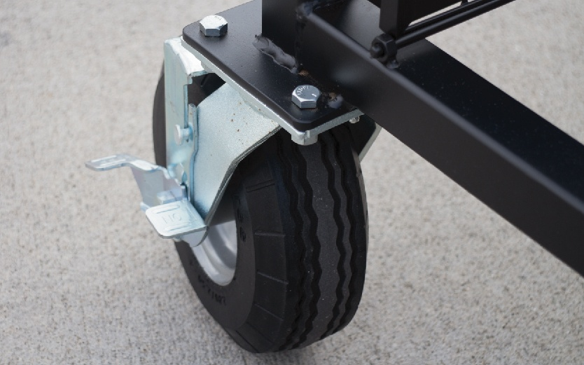 Close up of the wheel system the lift a block offers with locking rear-multidirectional wheels