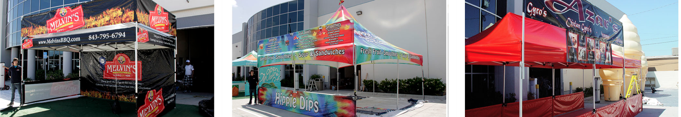 collage of multiple images with a canopy banner sign