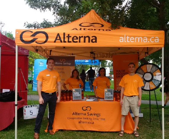 Alterna pop up canopy at an event with interactive marketing tools to meet people