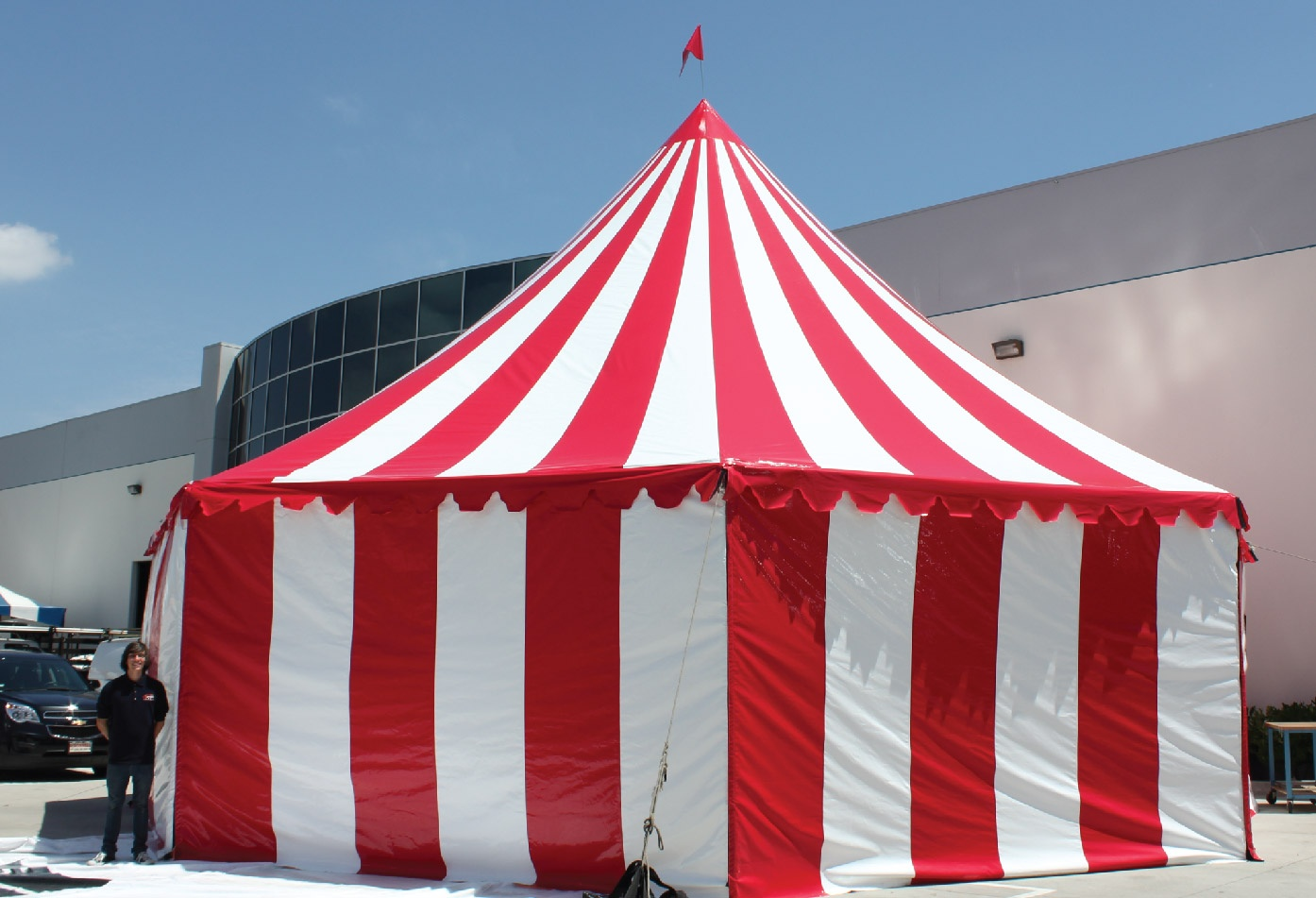 Red and White Stripe Festival Carnival Custom Frame Tent with Full Walls