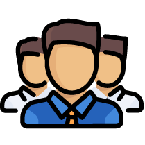 Helpful Support Assistance- customer support icon with three human figures