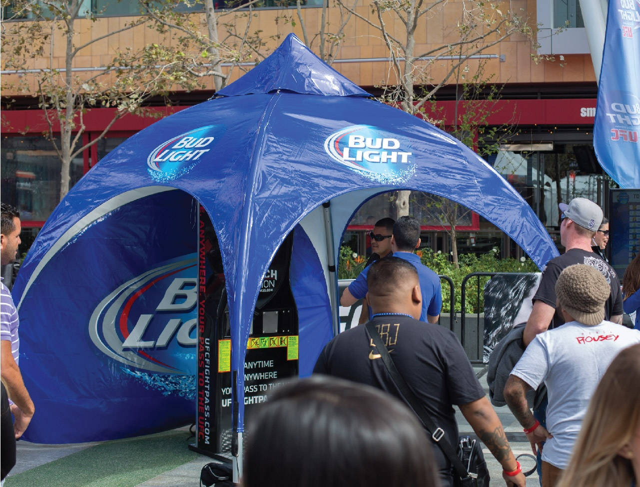 Bud Light Printed Arch Tent at Event