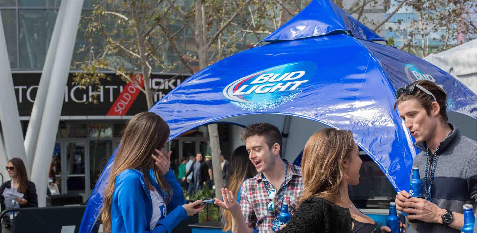 Bud Light Arch Frame Tent seen from different angles at the promotional design group facility
