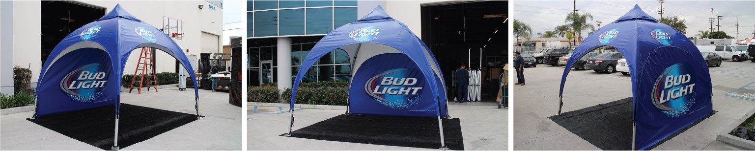 Bud Light Arch Frame Tent with Custom Printing and Custom Full Wall