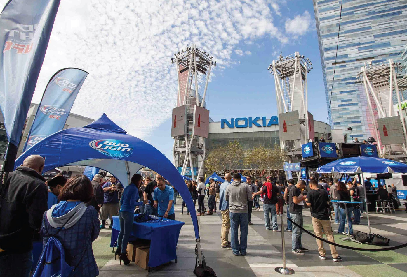 Bud Light Printed Arch Frame Tent at Nokia Theater, LA Live, UFC Event