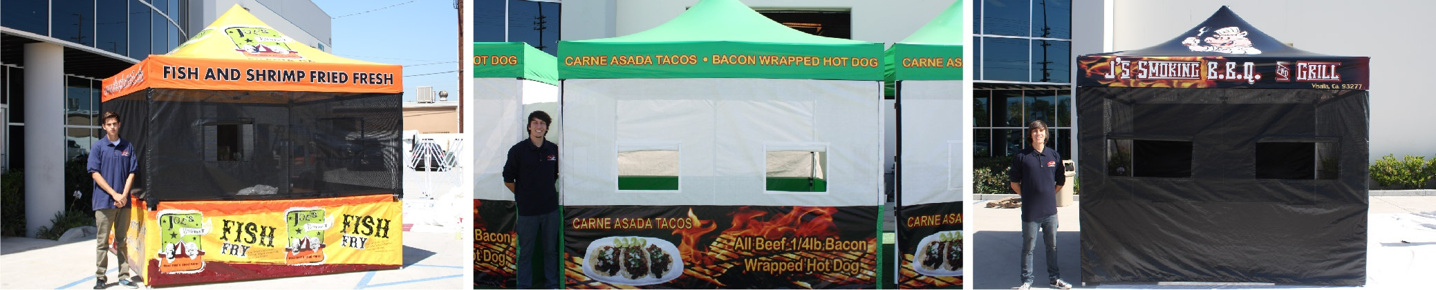 Various food booth canopies in front of a business.