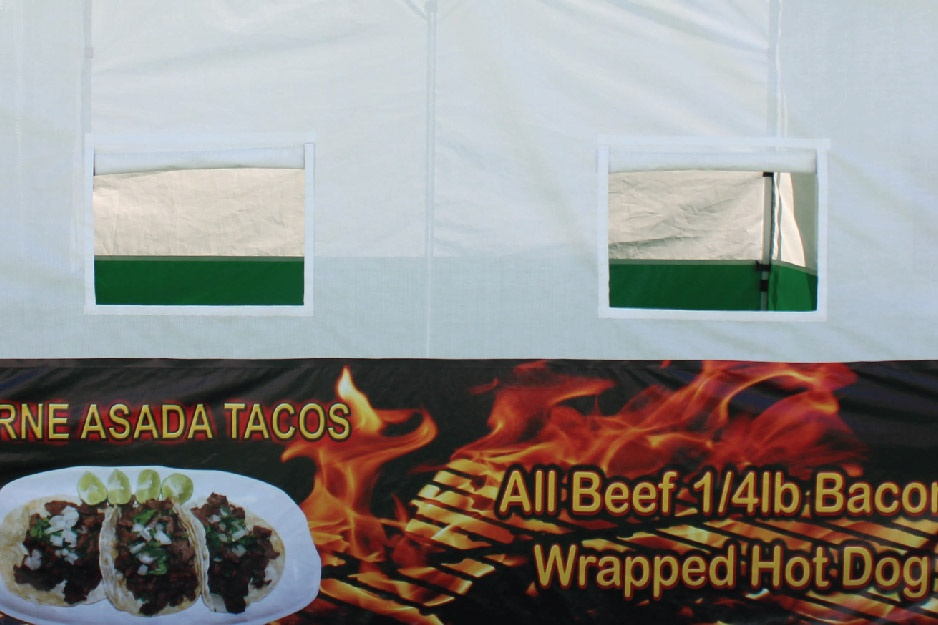 food booth serving windows above a printed side skirt included in all food booth packages