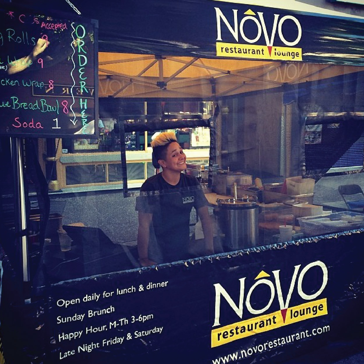 Novo restaurant lounge mobile food booth canopy