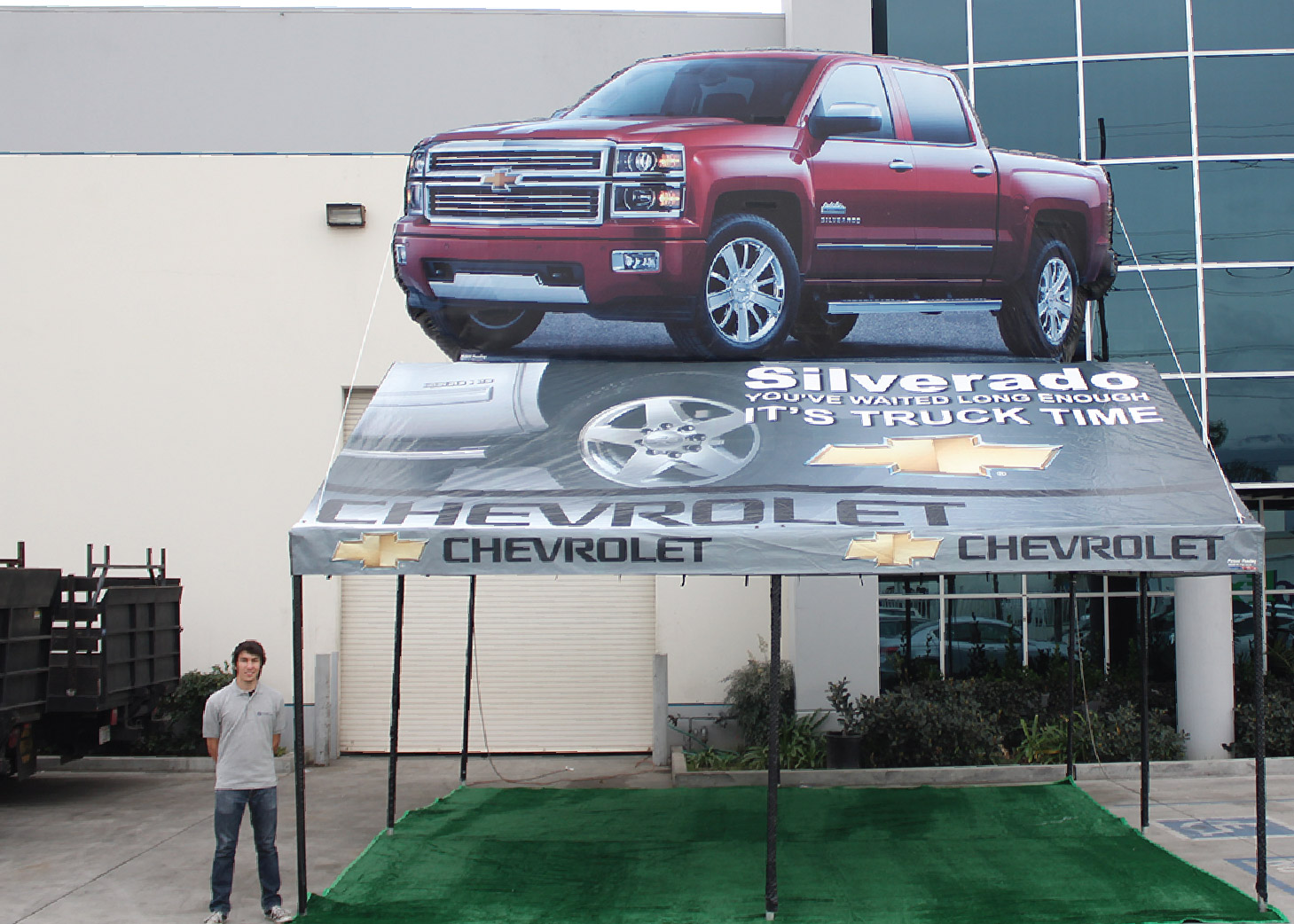 Chevrolet (Chevy) Silverado Frame Tent with Inflatable at the promotional design group facility