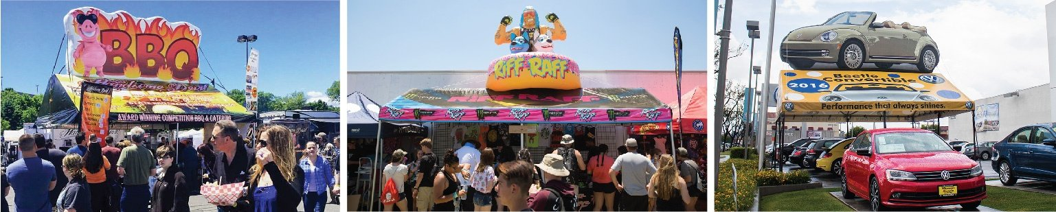 BBQ, RIff Raff, and VW Bug Frame Tent with Inflatable visible at events throughout the country