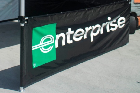 Enterprise custom printed rail skirt short wall with the logo centered in the side skirt