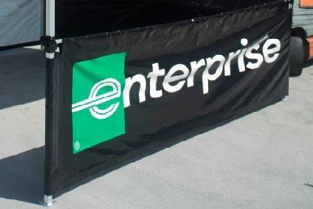 Enterprise custom printed rail skirt short wall with the logo centered in the side skirt