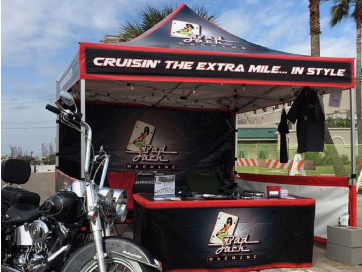 bad jack machine gold canopy packages with custom printed canopy tent tops, full back walls, and table covers
