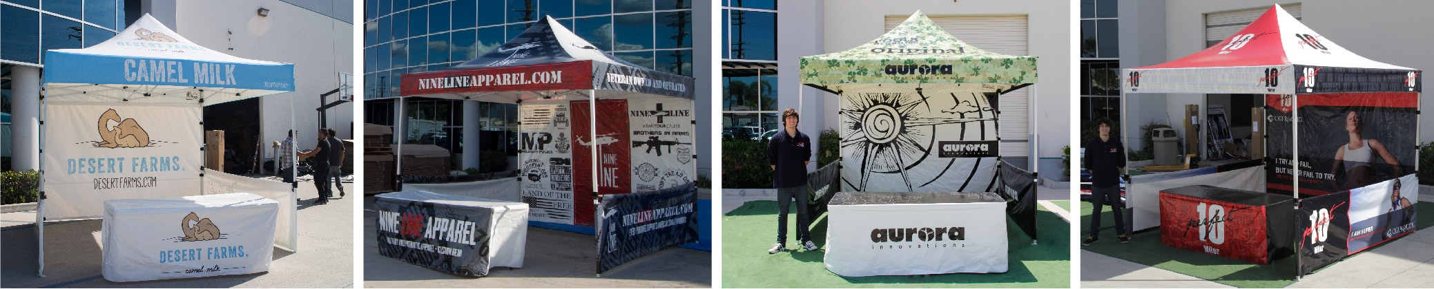 multiple gold canopy packages with custom printed canopy tent tops, full back walls, and table covers
