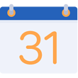 Rush Orders and Fast Turnaround Icon with a small calendar  symbolizing dates for deadlines