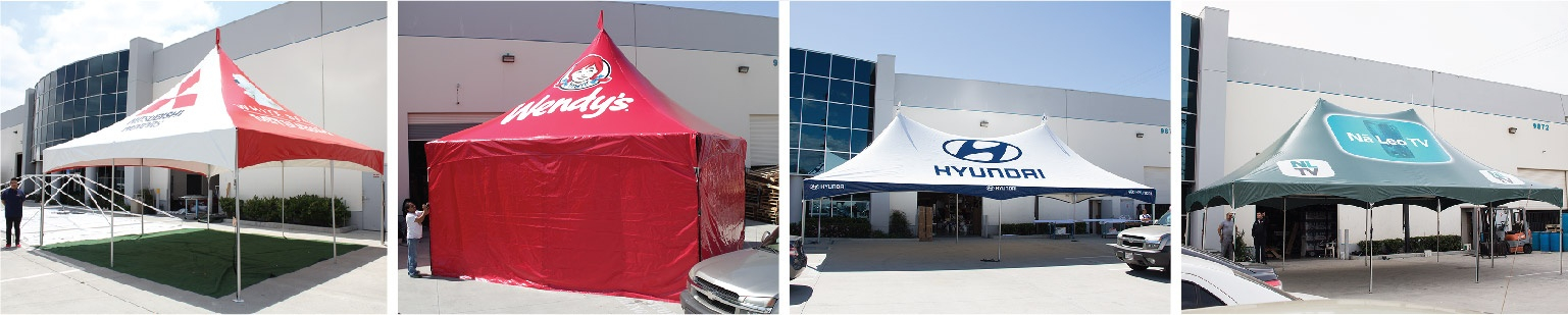 Mitsubishi, Wendy's, Hyundai Custom Printed High Peak Frame Tents in a collage of four images installed at promotional design group in South El Monte