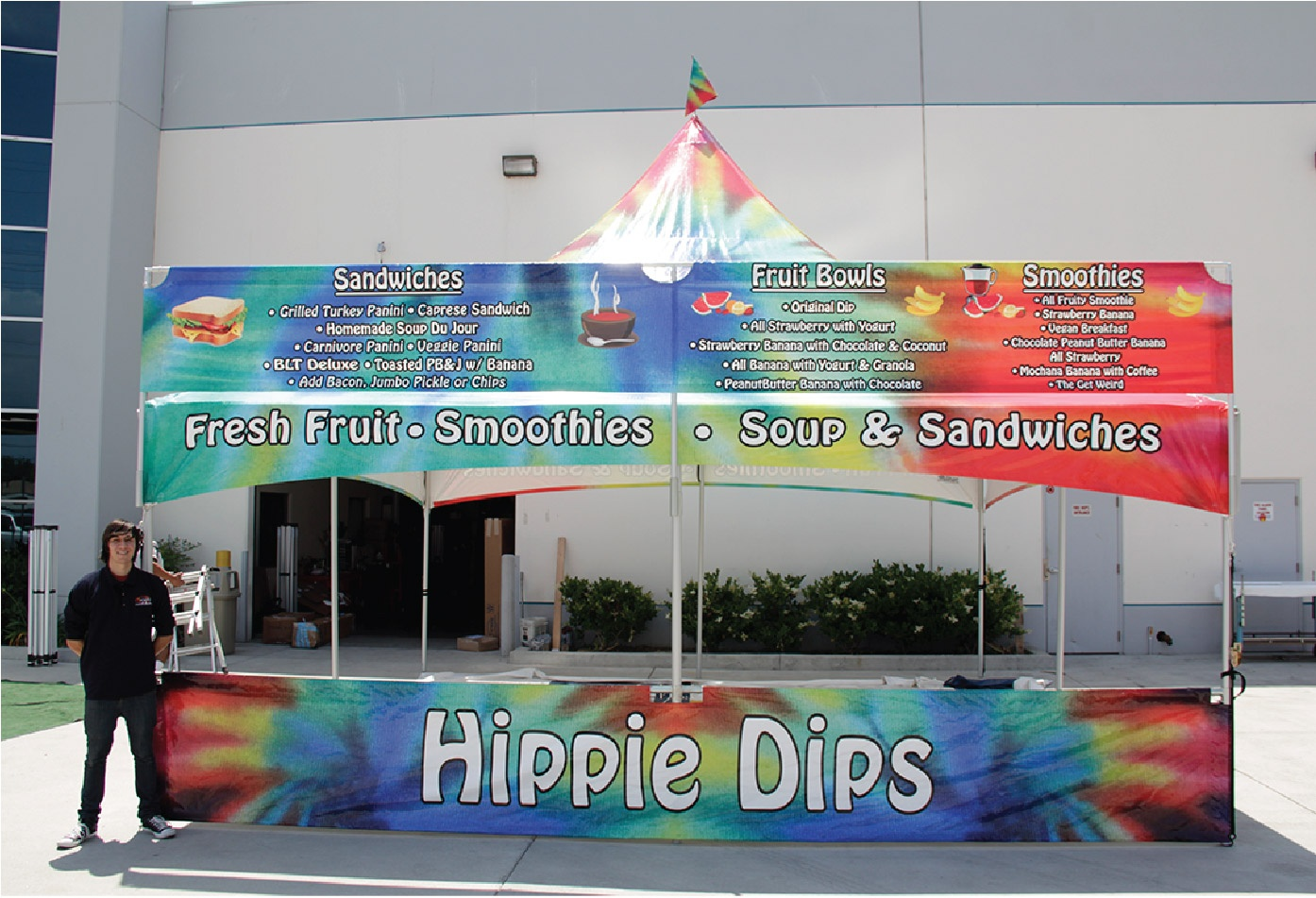 Hippie Dips 20x20 Custom Printed High Peak Frame Tent with a printed tent banner