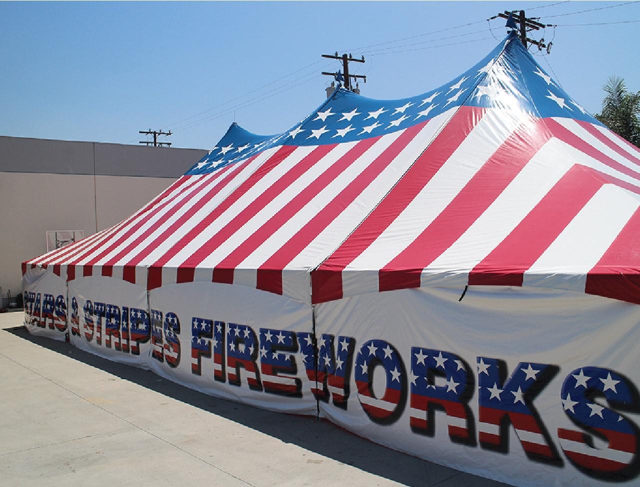 Stars and Stripes USA Patriotic High Peak Frame Tent