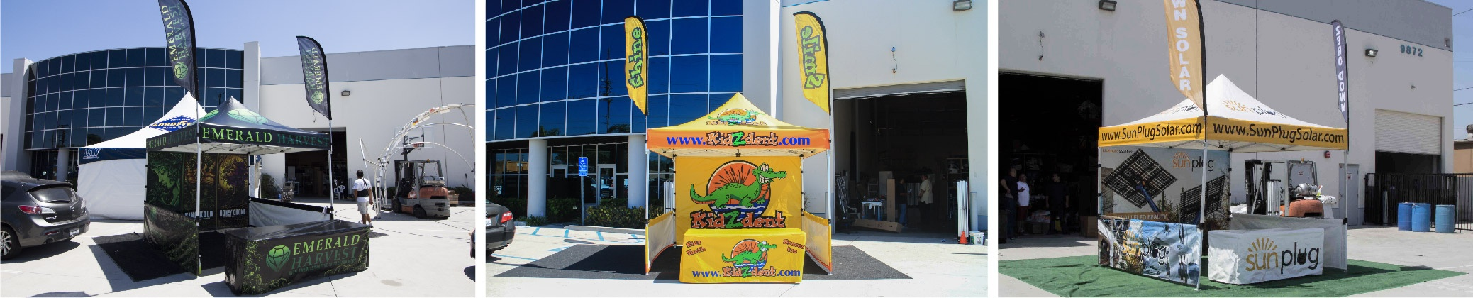 various adverting flag canopy packages with custom printing- all of them installed in front of the Promotional Design Group building in Los Angeles