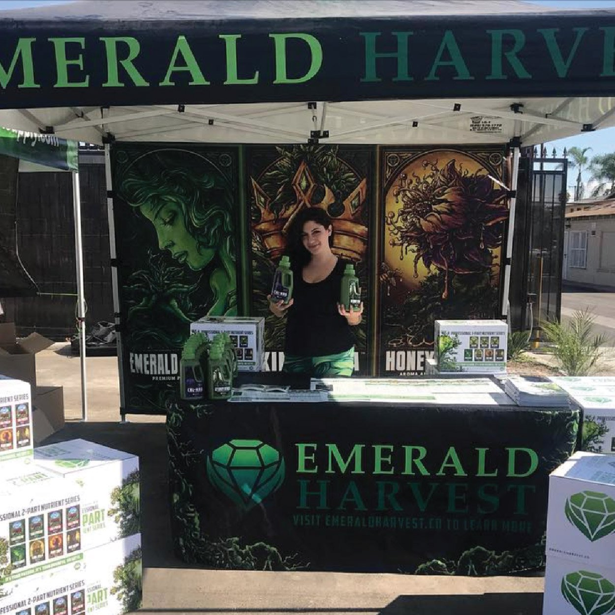 emerald harvest custom pop up canopy tent with printed back full wall and table cover