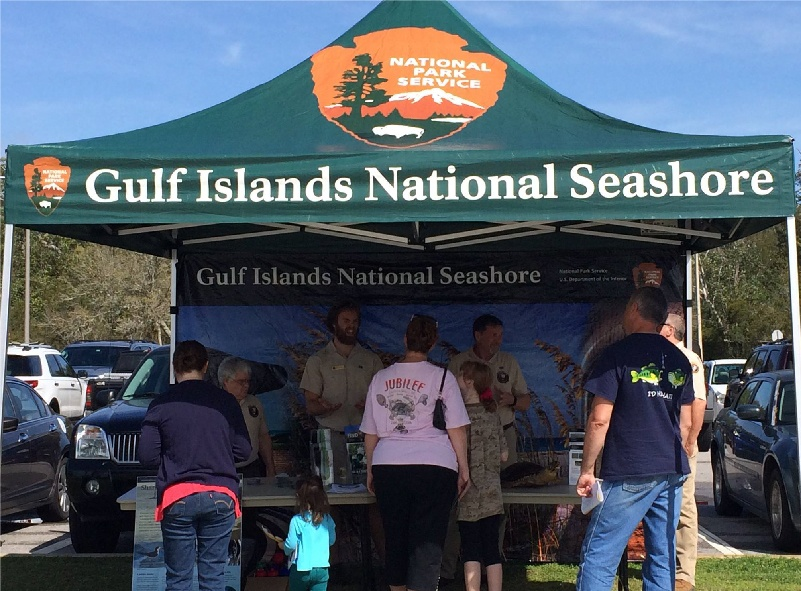 Gulf Islands National Seashore silver canopy package with printed canopy tent top and full back wall