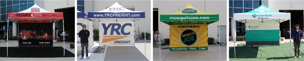 multiple silver canopy packages with printed canopy tent tops and full back walls