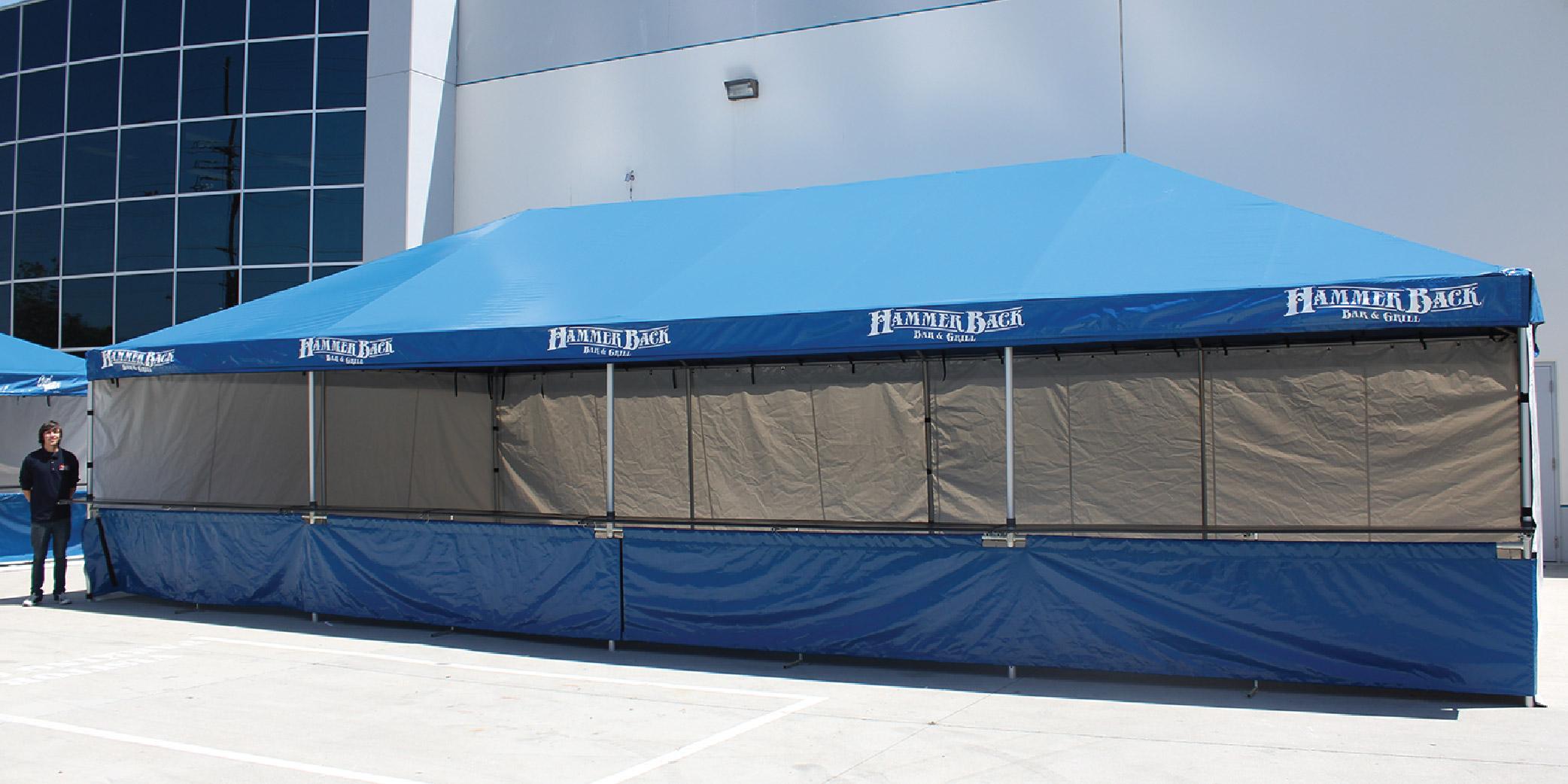 Hammer Back blue standard frame tent with walls